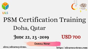 PSM Certification Training Course in Doha, Qatar.