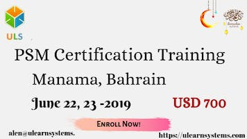 PSM Certification Training Course in Manama, Bahrain.