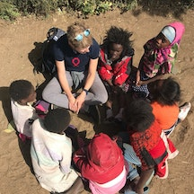 Playing in a group of girls in Zambia