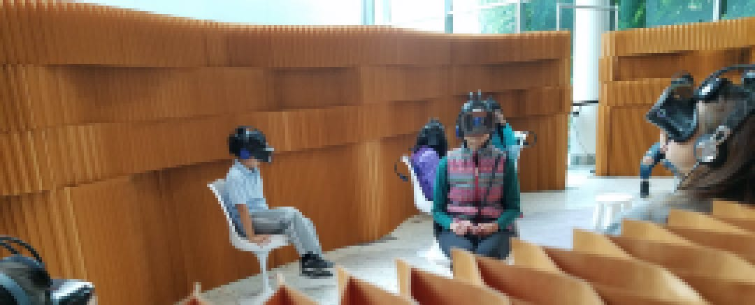 Kids trying VR at the Pacific Science Center in Seattle.