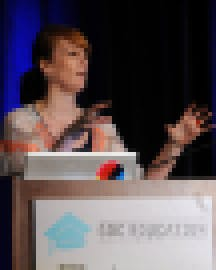 Institute of Play co-founder, Katie Salen Tekinbaş speaking at the GDC Education Summit in 2012