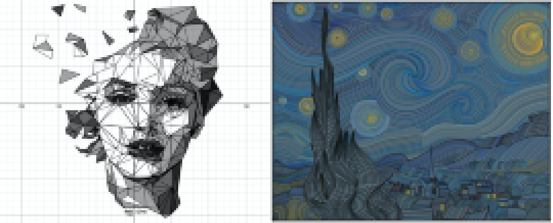 Desmos art contest submissions from Davide Bracci and Alexander Manville Muench