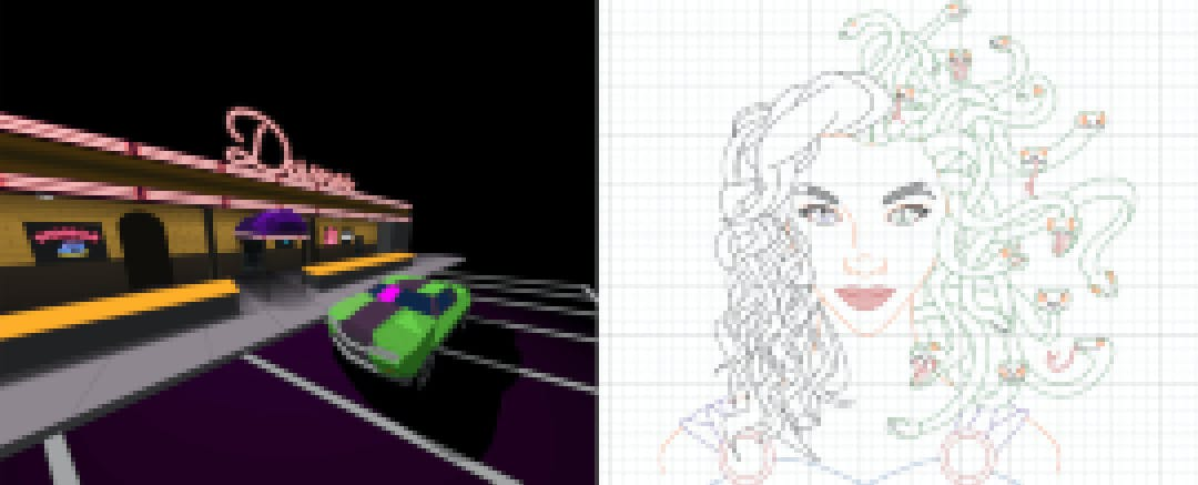 Desmos art contest submissions from Ezra Oppenheimer and Grace Kanaley
