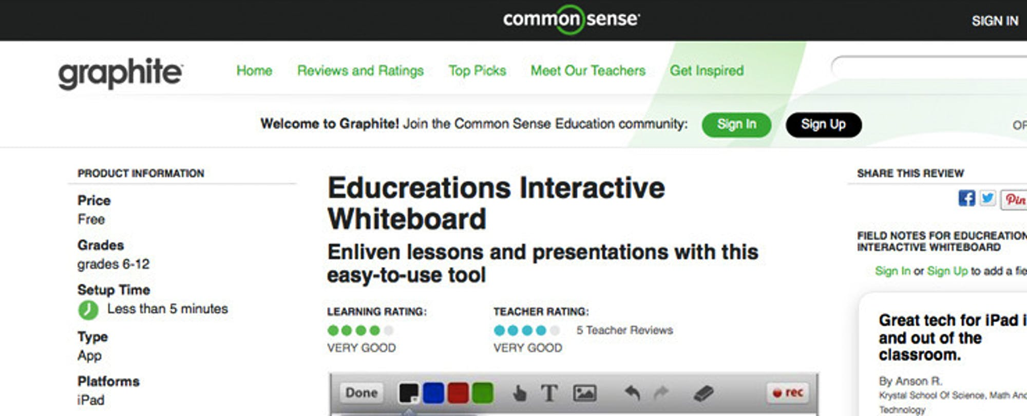 ISTE13: Common Sense Media Launches Graphite